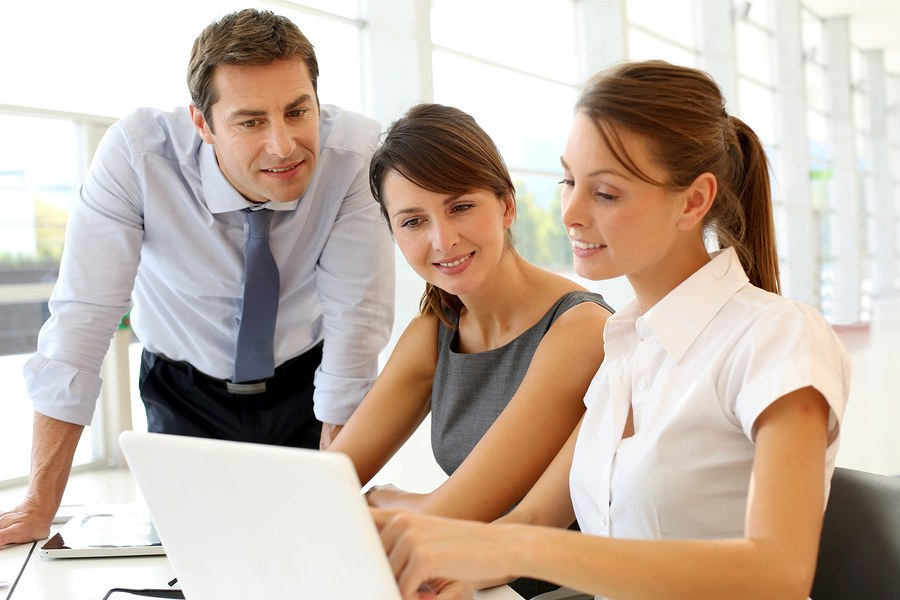 Business presentation on laptop computer